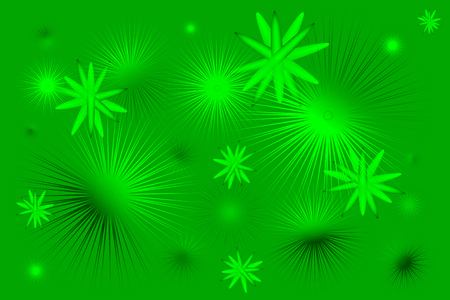 Spiny flying balls and molecules with shadows and light on a green background