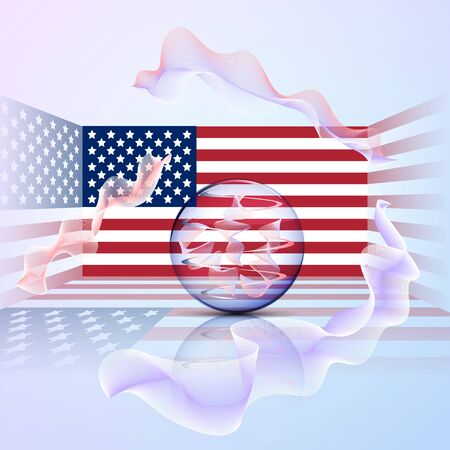 The US flag in a rectangular space with a transparent ball