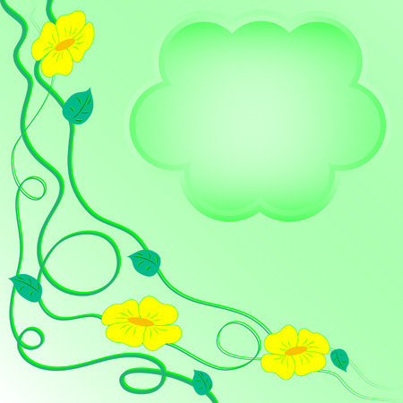 Light green card with yellow flowers, leaves and stems Çizim