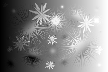 Spiny stars, molecules on a black and white background in the shadows and light