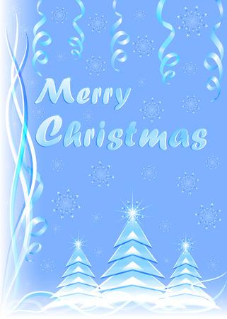 雪、蛇紋岩、モミの木でクリスマス ブルーのグリーティング カードおめでとう