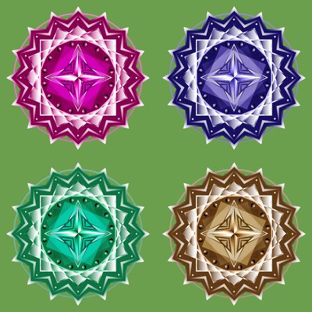 Mandala set four colors on a monophonic background
