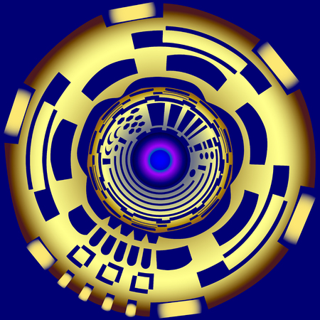 Mechanical golden button with a glowing core on a dark blue background