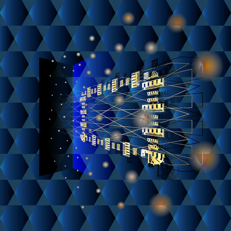 Ruimtelijke donkerblauwe abstractie met een geometrisch patroon, met een rondvliegend gouden frame, een schaduw, ballen