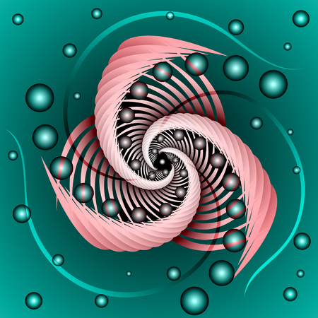abstract pink spiral with transparent balls and antennae on a dark green background Illustration