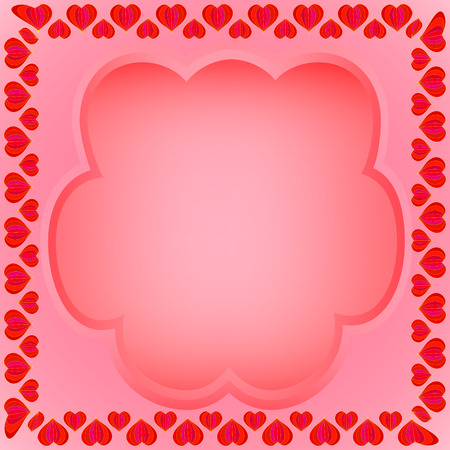 A frame of hearts with a yellow stroke with a transparent field for text on a red background.