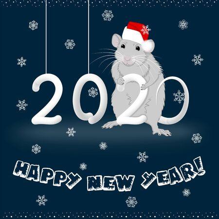 Happy New Year 2020 metal rat on dark background Illustration