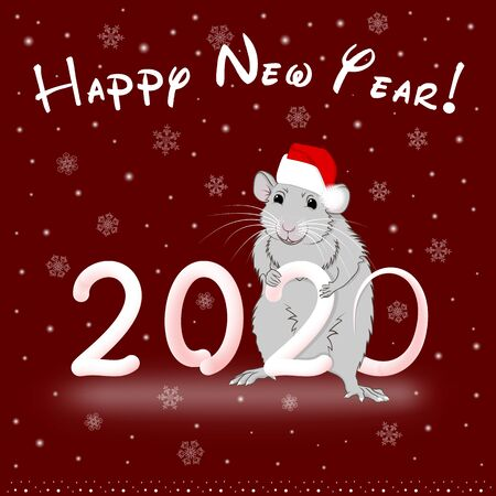 Happy New Year 2020 rat with snowflakes on a red background Illustration