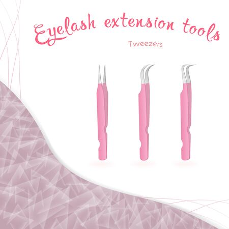 Straight, angled, rounded tweezers for working with eyelashes on a white background