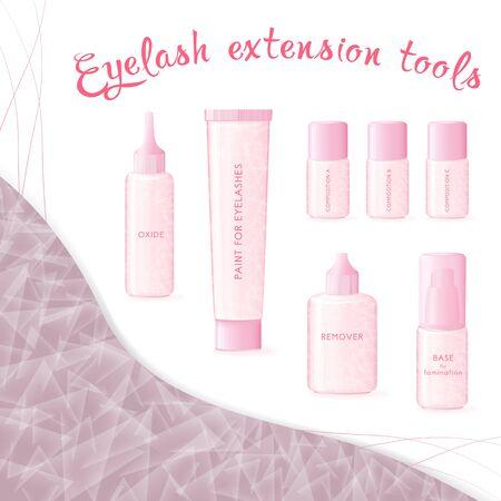 Materials for working with eyelashes Ilustração