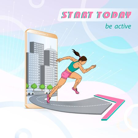 Woman runner runs away from the city, jumps out of the smartphone, start the sport today