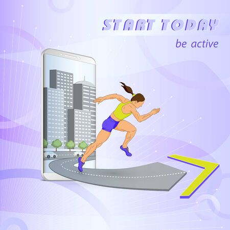 Woman runner runs away from the city, jumps out of the silver smartphone, start the sport today on a lilac background Illustration