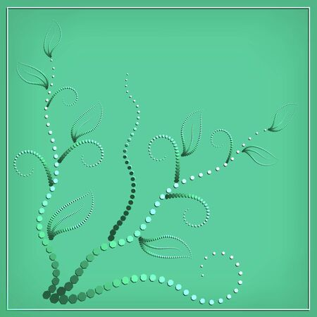 abstract geometric floral pattern with curls and leaves on a light green background in a white square frame