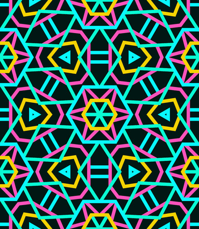 Seamless neon kaleidoscope pattern with an interlinked Ferris wheel effect