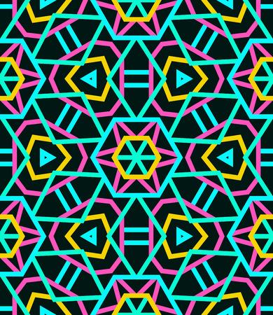 Seamless neon kaleidoscope pattern with an interlinked Ferris wheel effect
