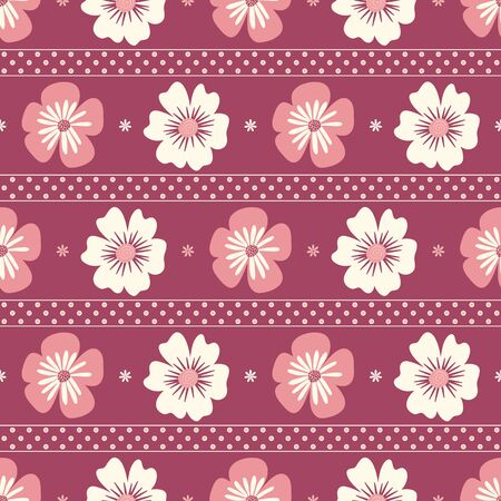 Seamless striped pattern of flowers and polka dots on a dark pink background.
