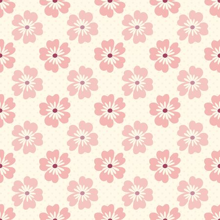 Seamless pattern of pink flowers on a polka dotted cream background.