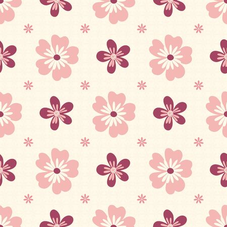 Seamless pattern of pink flowers on a cream background. Illustration