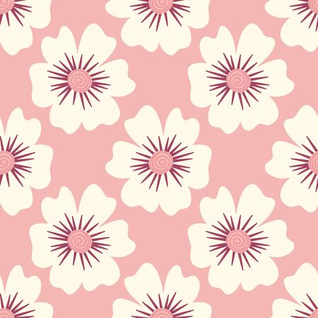 Seamless pattern of large white flowers on a pink background.