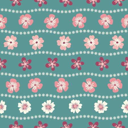 Seamless pattern of pink and white flowers on a green background. Illustration