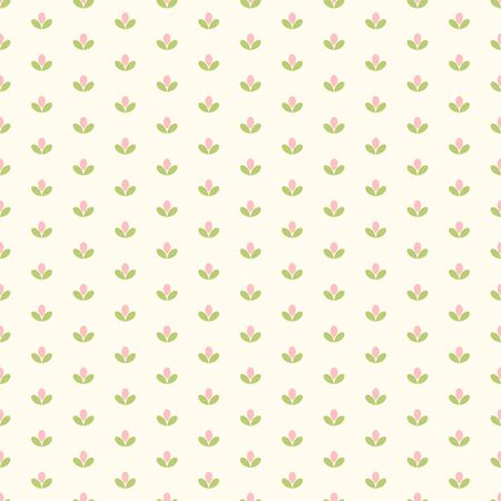 Seamless pattern of small abstract pink flowers on a cream background.