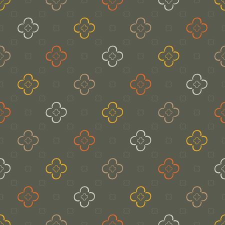 Seamless pattern of semi-circles arranged in a flower motif on a dark background.