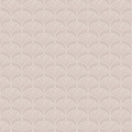 Seamless pattern of ginkgo leaf outlines in neutral beige tones.