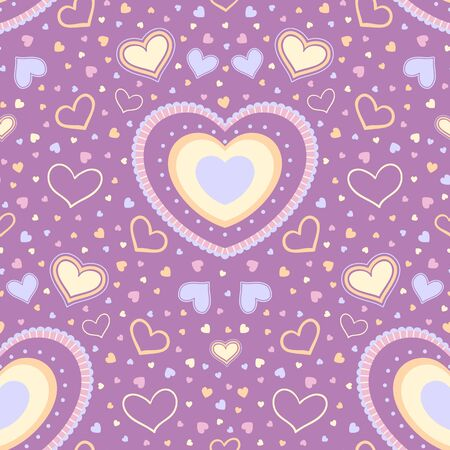 Seamless reflected pattern of pastel hearts on a dark pink background Illusztráció