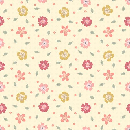 Seamless pattern of orange, yellow and pink flowers with small green leaves on a pale yellow background Ilustrace