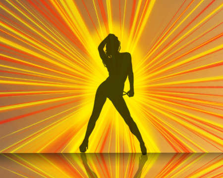 sexy glowing dancer with shadow reflection