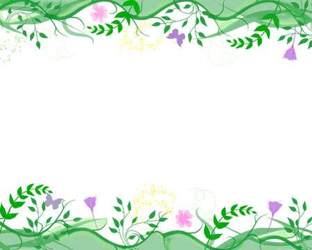pretty floral border, foliage & flower frame photo