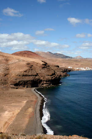 Lonesome beach in the south of Lanzarote 免版税图像