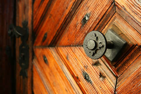 door handle: medieval door handle to lock in the background