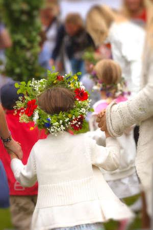 Girl with midsummer wreath.