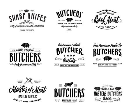 Butchers produce. Lettering label . Hand drawn vintage. Standard-Bild - 125228896