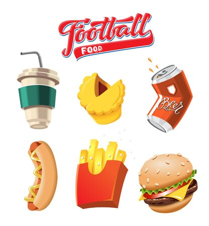 Food for football matches. Happy Cartoon object a playing ball.