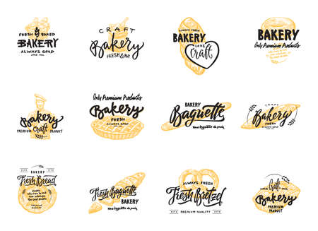 bretzel: Vintage bakery lettering set. Vector color hand drawn vintage engraving illustration.