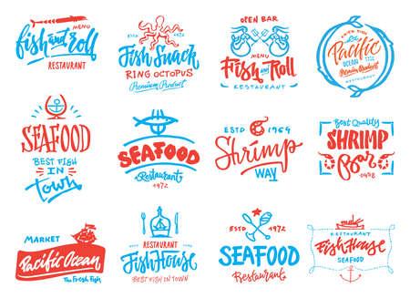 Seafood icons set Ilustrace