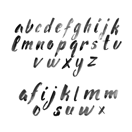 english letters: Set of lowercase watercolor brush letters with variants