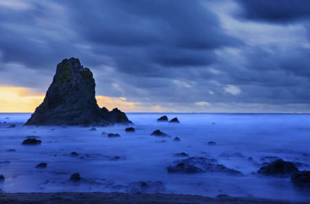 blackrock: caostal landscape with dark clouds sea and ocean Stock Photo
