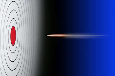 tiro al blanco: Meta con bala a punto de anotar un impacto directo