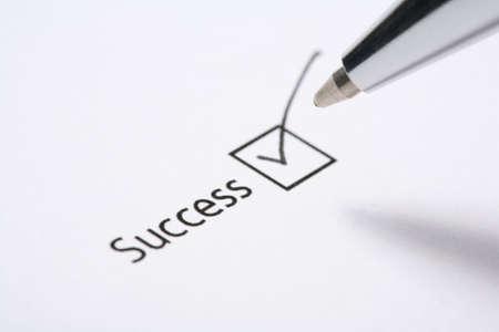 tickbox: success tickbox on a form tick and pen
