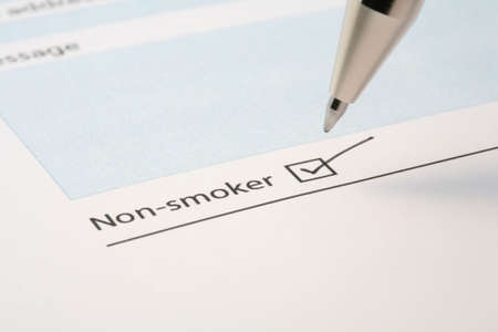 tickbox: non smoking tick box on a form, concept give up smoking