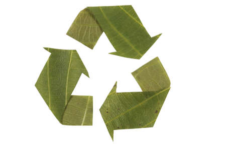 mobius loop: recycling symbol, recycled symbol made from leaves Mobius Loop Stock Photo