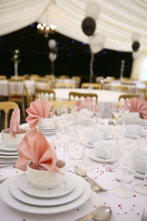 marquee tent: a marquee interior set up for  guests Stock Photo
