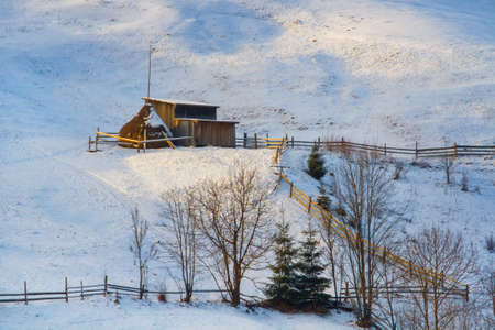 Winter mountain village Stock Photo