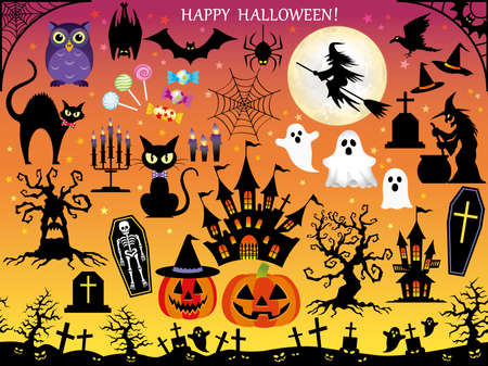 ghost house: A set of various Happy Halloween elements.