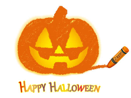 A Jack-o'-lantern vector crayon drawing with a white background.