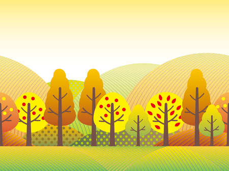 A seamless vector countryside landscape illustration in autumn.