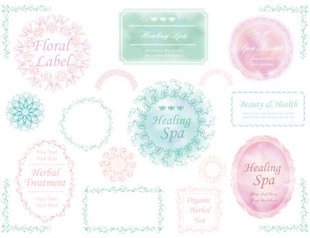 A set of various labels in pastel colors. Ilustração